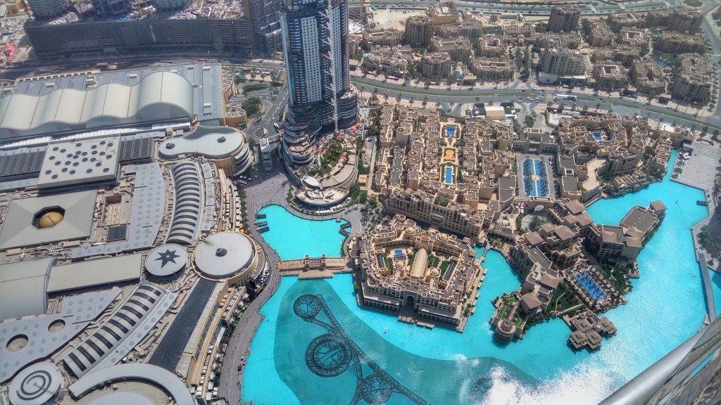 The Fountains of Dubai Mall - view from top